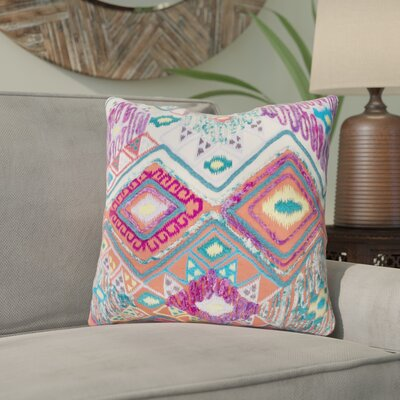 Gauge 100% Cotton Throw Pillow Size: 18 H x 18 W x 3.5 D, Color: Purple/Blue