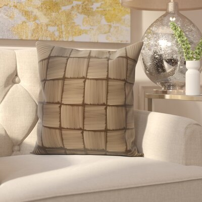 Parsons Basketweave Geometric Print  OutdoorThrow Pillow Color: Brown, Size: 18 H x 18 W