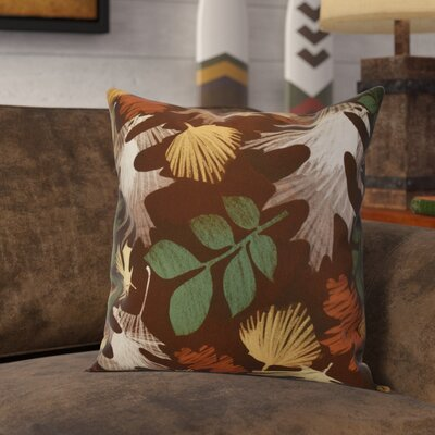 Brookfield Watercolor Leaves Floral Print Throw Pillow Size: 18