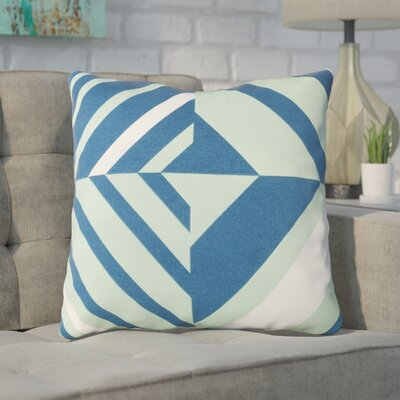 Clio Square Cotton Indoor Throw Pillow Size: 18 H x 18 W x 4 D, Color: Mint / Dark Blue / White