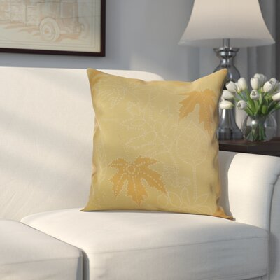 Miller Dotted Leaves Floral Outdoor Throw Pillow Size: 20 H x 20 W x 2 D, Color: Gold