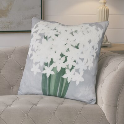 Amanda Paperwhites Floral Print Euro Pillow Color: Gray
