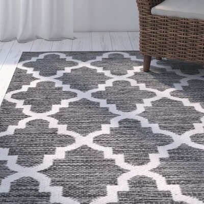Eliana�Hand-Woven Charcoal/Ivory Area Rug Rug Size: Rectangle 8 x 10