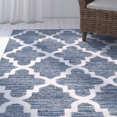 Eliana� Hand-Woven Navy/Ivory Area Rug Rug Size: Rectangle 5 x 8