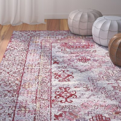 Center Red/Pink Area Rug Rug Size: Round 8