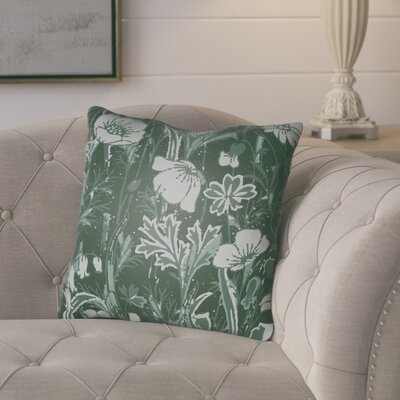 Teena Floral Throw Pillow Size: 20 H x 20 W x 4 D, Color: Dark Green