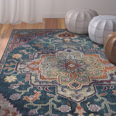 Adagio Teal/Rose Area Rug Rug Size: Square 7