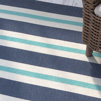 Springwater Blue/Ivory Indoor/Outdoor Area Rug Rug Size: 53 x 77