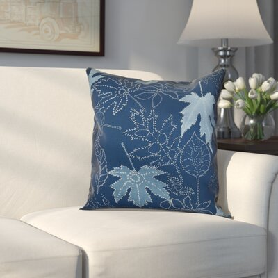 Miller Dotted Leaves Floral Outdoor Throw Pillow Size: 18 H x 18 W x 2 D, Color: Blue