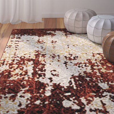 Fayme Red/Cream Area Rug Rug Size: 52 x 72