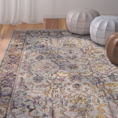 Elegy Light Blue/Orange Area Rug Rug Size: 4 x 6