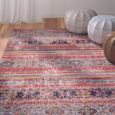 Fort Kent Fuchsia Striped Area Rug Rug Size: 38 x 56
