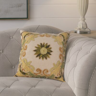 Baltic Floral Embroidery Motif Beaded Cotton Throw Pillow Color: Green
