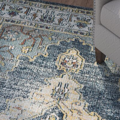 Michiana Blue/Yellow Area Rug Rug Size: 67 x 92