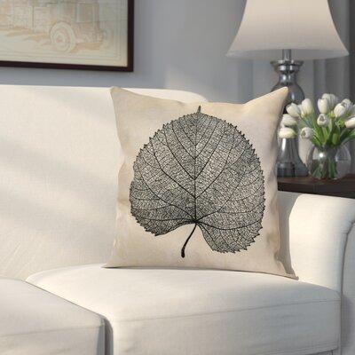 Miller Leaf Study Floral Throw Pillow Size: 16 H x 16 W x 2 D, Color: Black