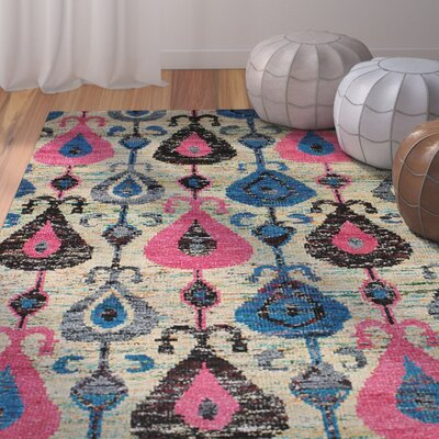 One-of-a-Kind Dennet Hand-Knotted Silk Blue/Dark Pink Area Rug