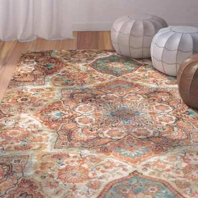 Ortega Kaleidoscope Beige/Orange Area Rug Rug Size: Rectangle 76 x 10