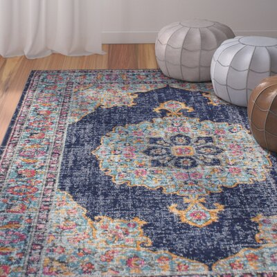 Ashburn Dark Blue Area Rug Rug Size: 87 x 116