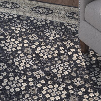 Cynthiana Navy/Gray Area Rug Rug Size: Rectangle 53 x 76