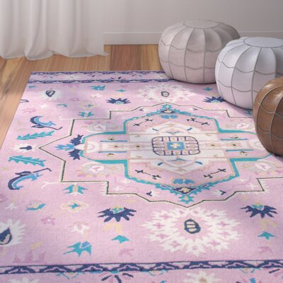Caresse Handmade Pink Area Rug Rug Size: Rectangle 5 x 7