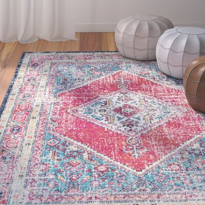 LOasis Pink/Blue Area Rug Rug Size: Rectangle 9 x 12