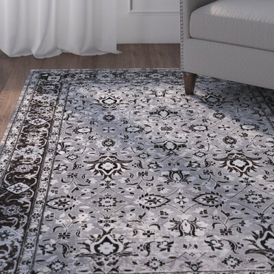 Baughn Medium Gray/Dark Brown Area Rug Rug Size: 2 x 3