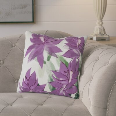 Amanda Christmas Cactus Floral Print Throw Pillow Size: 18 H x 18 W, Color: Purple