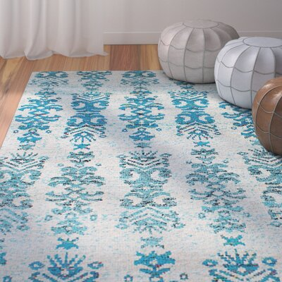 Dennet Hand-Knotted Silk Cream/Turquoise Area Rug