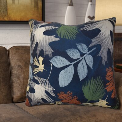 Brookfield Watercolor Leaves Floral Print Euro Pillow Color: Navy Blue