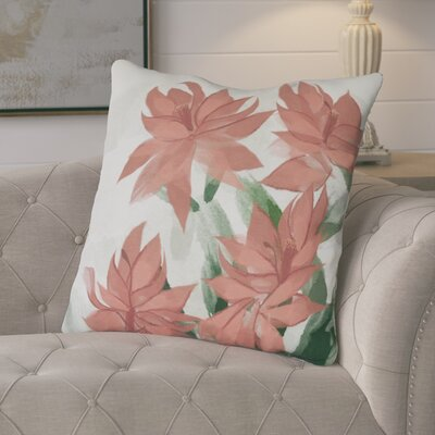Amanda Christmas Cactus Floral Print Euro Pillow Color: Coral