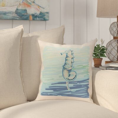 Bhushan Seahorse Decorative Outdoor Pillow Color: Neutral, Size: 18 H x 18 W x 1 D