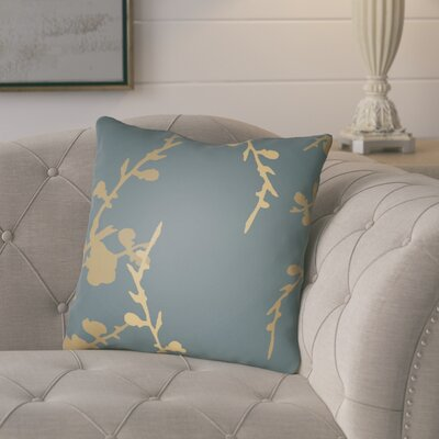 Teena Throw Pillow Size: 20 H x 20 W x 4 D, Color: Slate Blue/Gold