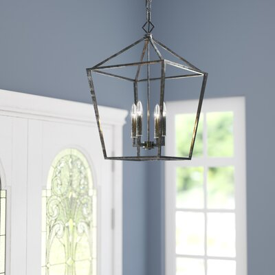 Varnum 4-Light Foyer Pendant Finish: Antique Silver, Size: 30 H x 20 W x 20 D