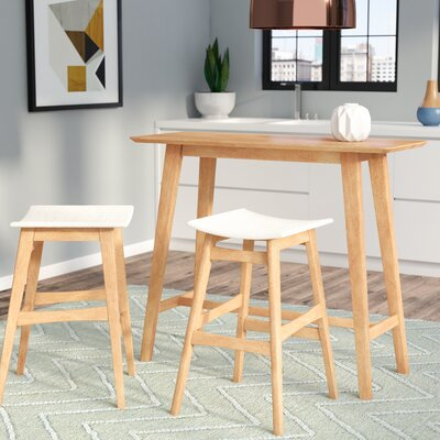 Fletcher 3 Piece Pub Table Set Table Finish: Natural Oak, Chair Finish: Light Beige