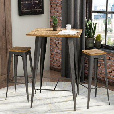 Claremont 3 Piece Pub Table Set Finish: Grey / Brown