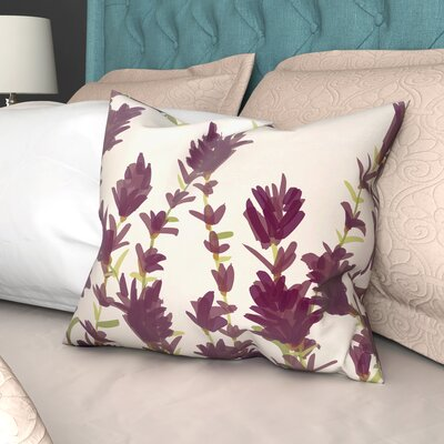 Orchard Lane Lavender Floral Outdoor Throw Pillow Size: 18 H x 18 W, Color: Purple