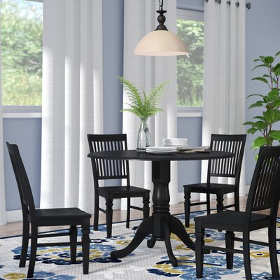 Abrahamic 5 Piece Drop Leaf Wood Dining Set Color: Black