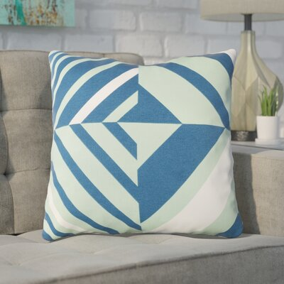 Clio Zipped Cotton Throw Pillow Size: 18 H x 18 W x 4 D, Color: Mint / Dark Blue / White