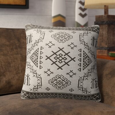 Cyrill Burlap Indoor/Outdoor Throw Pillow Size: 18 H x 18 W x 5 D, Color: Beige/ Grey