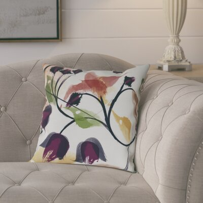 Roscoe Windy Bloom Floral Throw Pillow Size: 26 H x 26 W, Color: Red