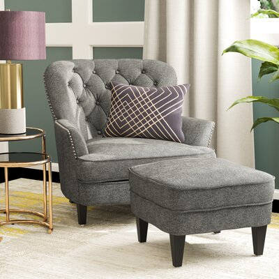 Heywood Armchair and Ottoman Upholstery: Gray