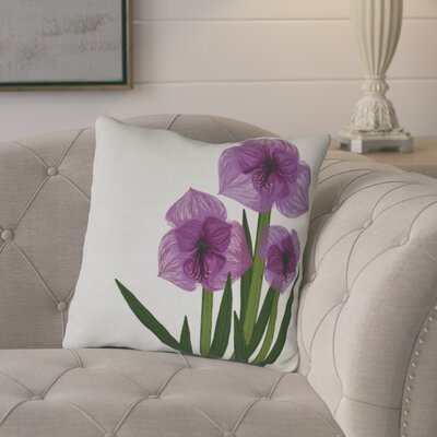 Amanda Amaryllis Floral Print Outdoor Throw Pillow Size: 20 H x 20 W, Color: Purple