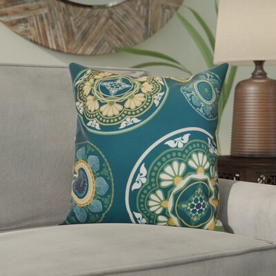 Soluri Medallions Outdoor Throw Pillow Size: 18 H x 18 W x 2 D, Color: Teal