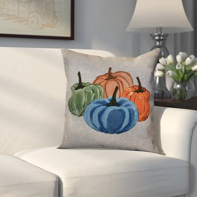 Miller Paper Mache Pumpkins Outdoor Throw Pillow Size: 16 H x 16 W x 2 D, Color: Gray