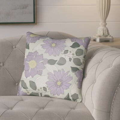 Lyda Flower Throw Pillow Size: 20 H x 20 W x 4 D, Color: Light Purple