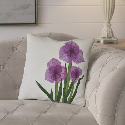 Amanda Amaryllis Floral Print Throw Pillow Size: 18 H x 18 W, Color: Purple