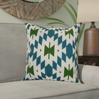 Soluri Geometric Outdoor Throw Pillow Size: 18 H x 18 W x 2 D, Color: Teal