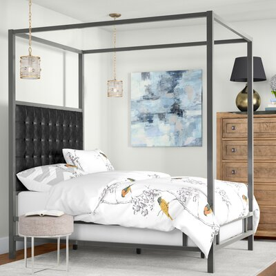 Holton Upholstered Canopy Bed Color: Black Bonded Leather, Size: Queen