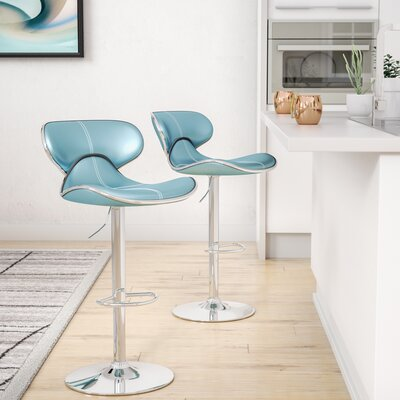 Harlow Adjustable Height Swivel bar stools Upholstery: Blue