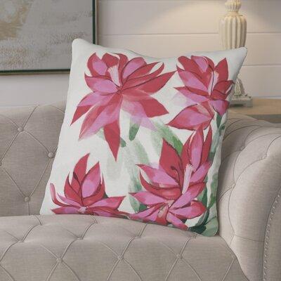 Amanda Christmas Cactus Floral Print Euro Pillow Color: Pink